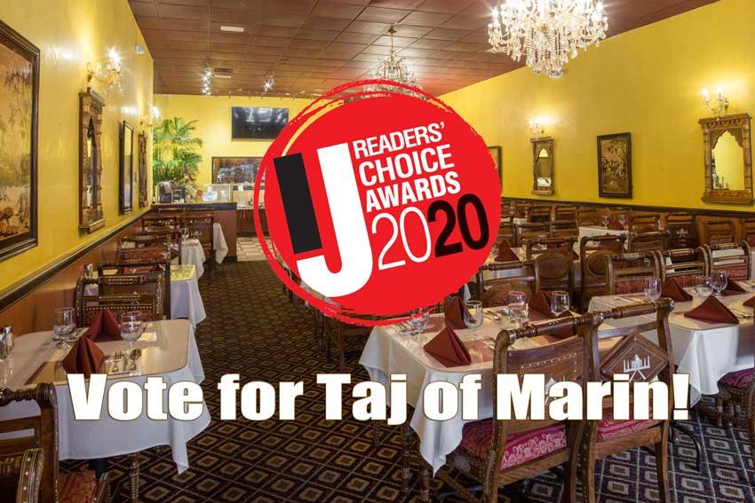 Vote for Taj of Marin in the Marin IJ Readers' Choice Awards, tables at Taj of marin and texts.