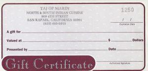 Taj of Marin - Gift Card