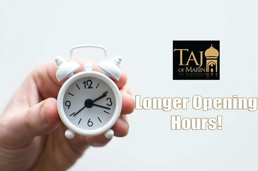 Taj of Marin Hours - A hand holding a small clock, logo and text.
