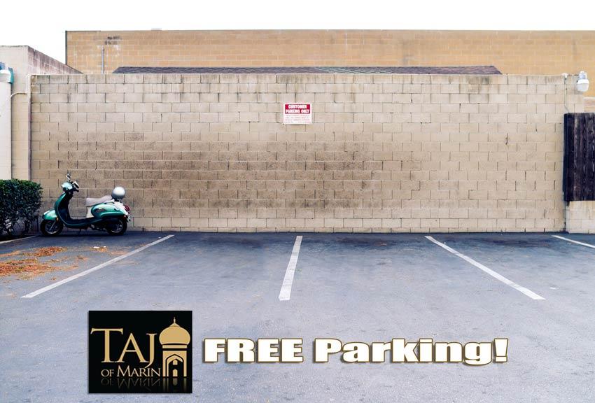 Free Parking behind Taj of Marin
